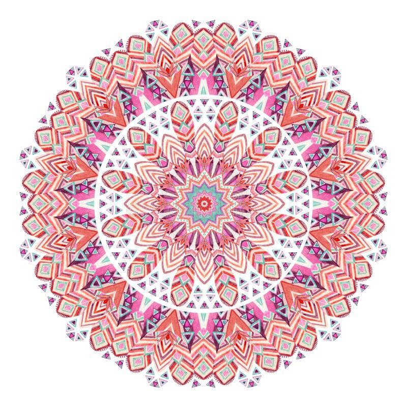 Akwareli piórek abstrakta etniczny ozdobny mandala royalty ilustracja