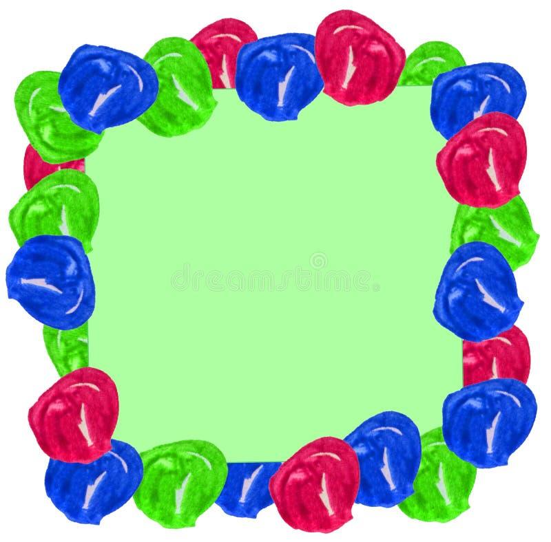 Akwareli piłki w postaci ramy na błękita i zieleni bożych narodzeń tle Może używać dla pocztówek, prezenty pakować, royalty ilustracja