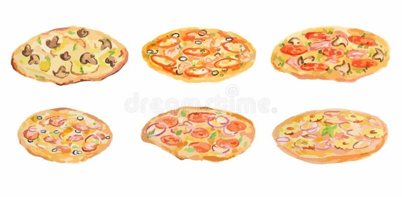 Akwareli pizzy set ilustracja wektor