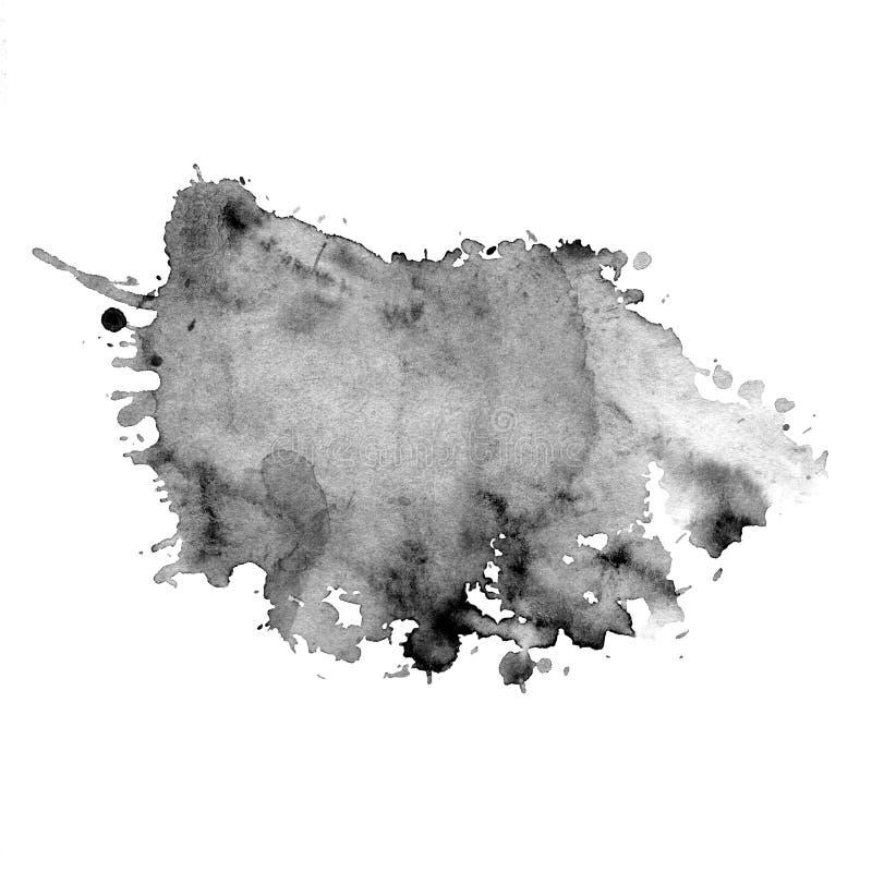 Akwareli plama szarość z pluśnięciami ilustracja wektor
