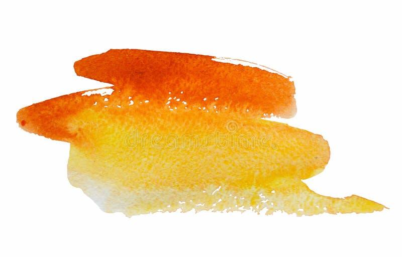 Akwareli plamy pomarańczowa jaskrawa miękka część ciepła obraz royalty free