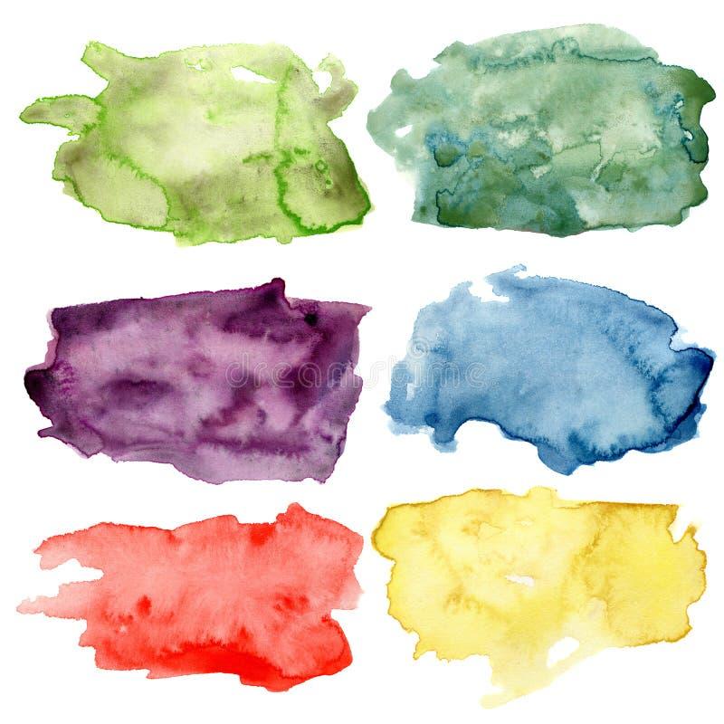 Akwareli plamy ustawiać Ręka malował zieleń, fiołek, czerwień, żółci abstrakcjonistyczni elementy Odizolowywający na białym tle d ilustracja wektor