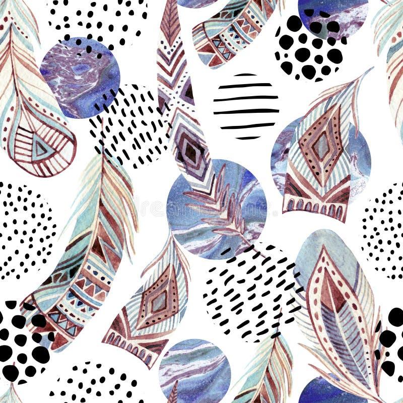 Akwareli plemiennych piórek bezszwowy wzór z abstrakta marmurem i grunge kształtami royalty ilustracja
