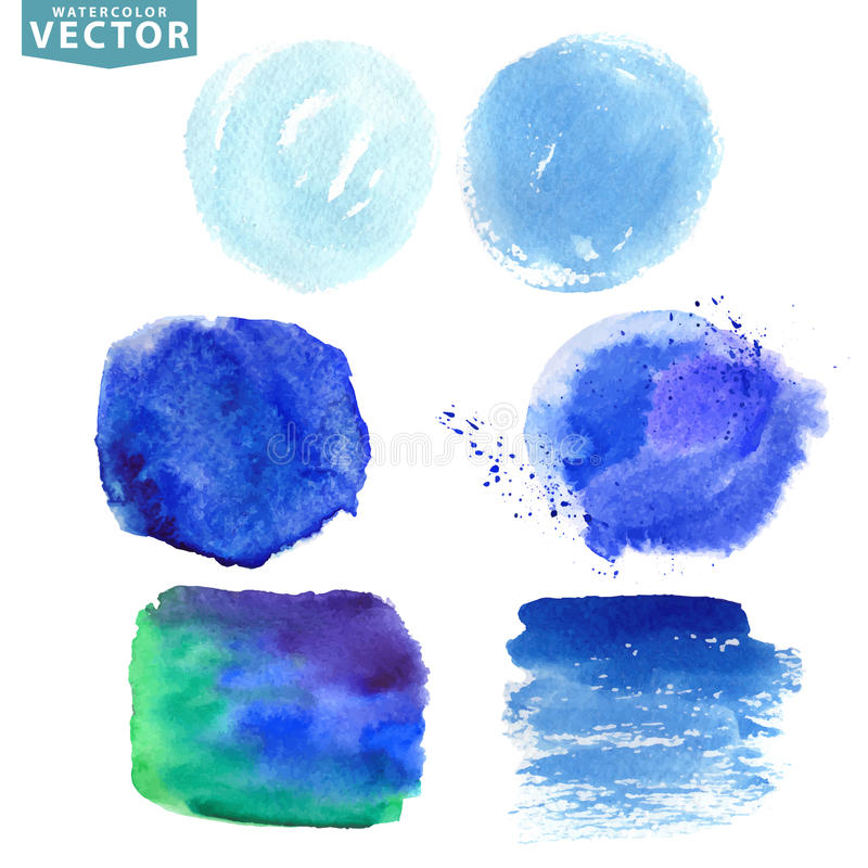 Akwareli pluśnięcie Błękitny, cyan ocean, morze, niebo barwi ilustracja wektor