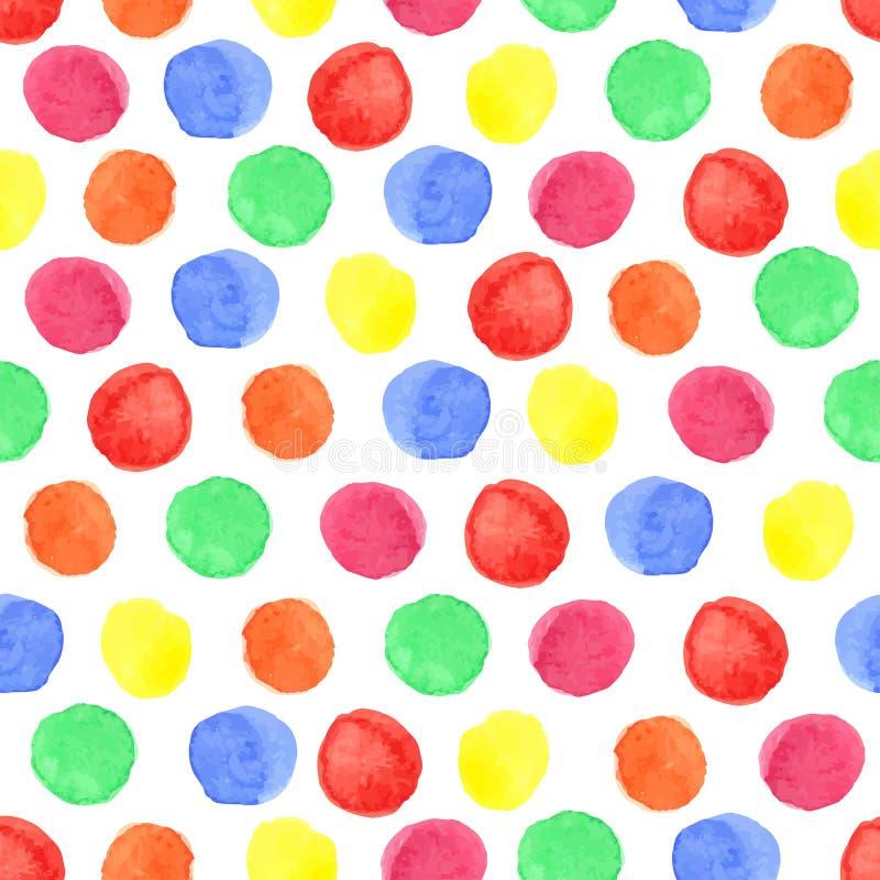 Akwareli polki kropki barwiony bezszwowy wzór Dziecko ilustracji