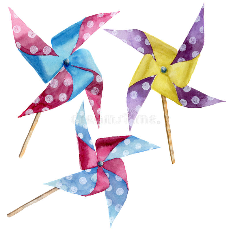 Akwareli polki kropki papierowi wiatraczki ustawiający Ręka rysujący rocznika pinwheel z retro projektem Ilustracje odizolowywać  royalty ilustracja