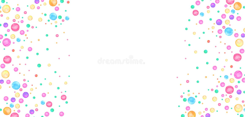 Akwareli polki kropki prosty wzór Kolorowi confetti rozpraszający wokoło ilustracji