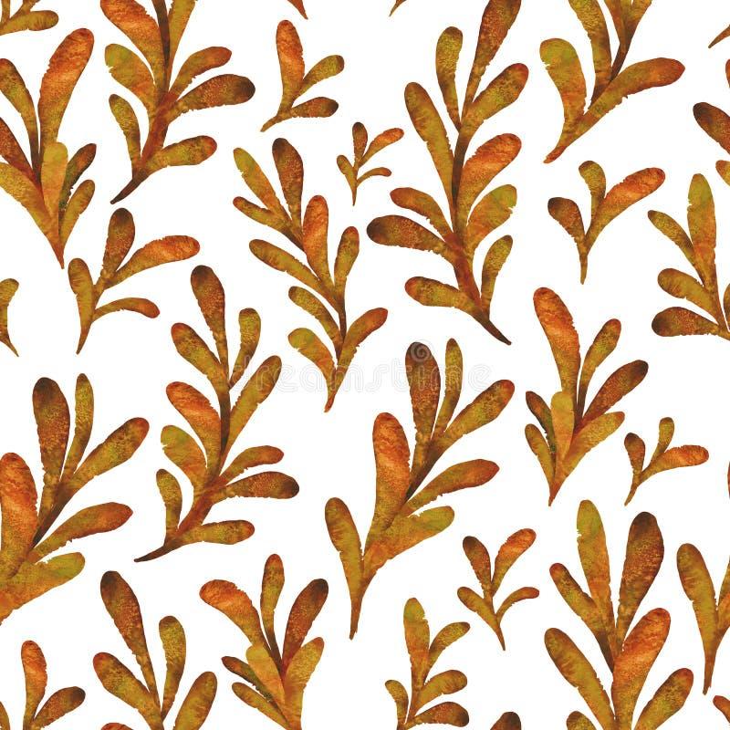 Akwareli pomarańcze opuszcza bezszwowego wzór Elegancka ręka rysująca roślina ilustracja wektor