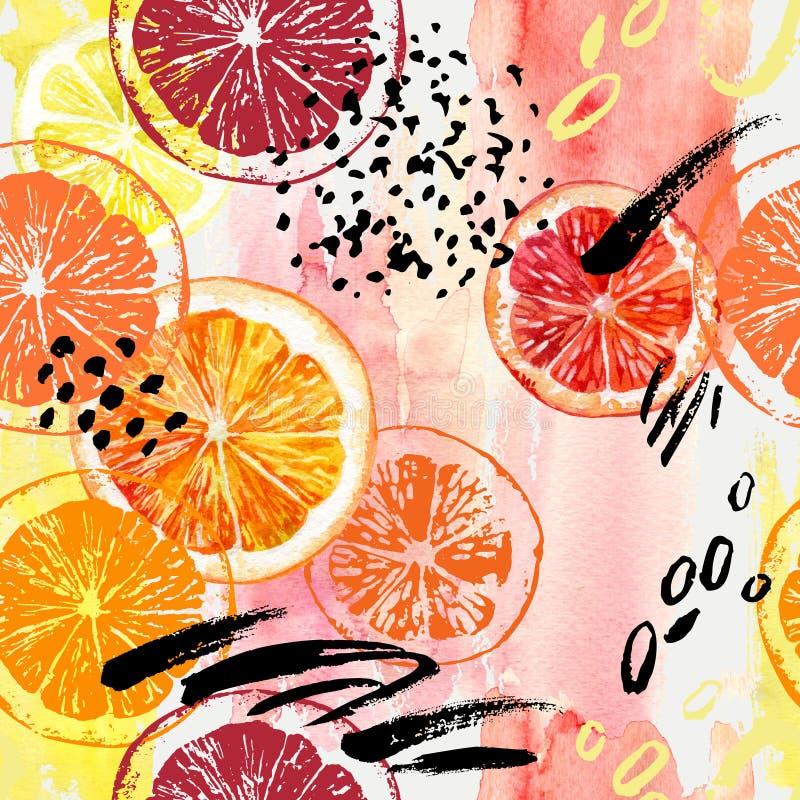 Akwareli pomarańcze, cytryna, grapefruitowy bezszwowy wzór royalty ilustracja