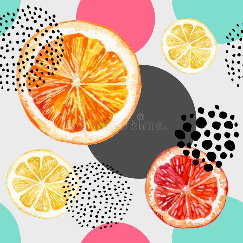 Akwareli pomarańcze, grapefruitowych i kolorowych okregów bezszwowy wzór świeży, royalty ilustracja