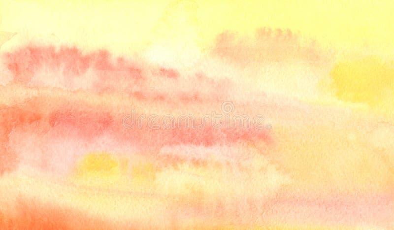 Akwareli pomarańczowy abstrakcjonistyczny tło ilustracja wektor