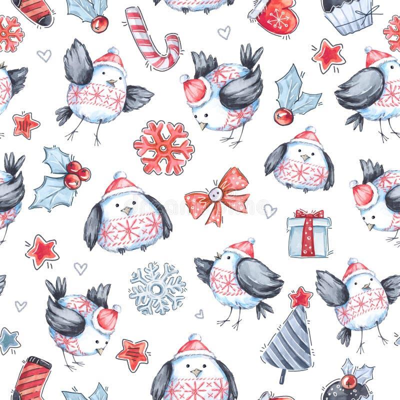 Akwareli powitania bezszwowy wzór z ślicznymi latającymi ptakami nowy rok, adobe dostępny świętowania kartoteki ilustraci ilustra ilustracji