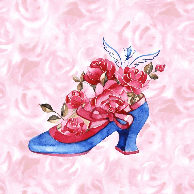 Akwareli Princess but ilustracja B??kitni rocznik?w buty z r??owymi faborkami i r??ami ilustracja wektor