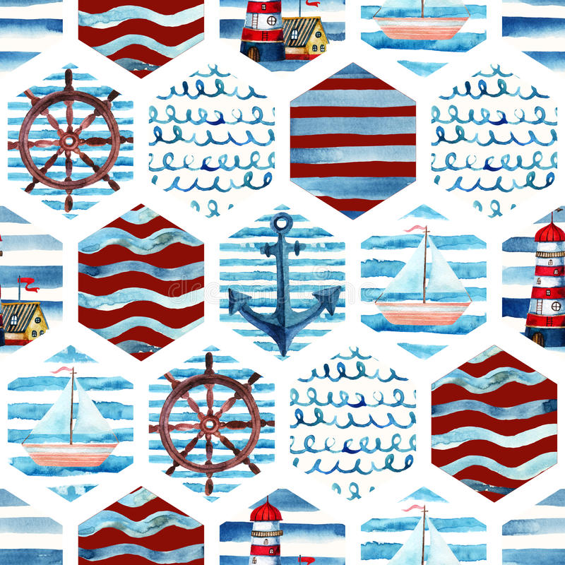Akwareli przygody bezszwowy wzór w patchworku żołnierza piechoty morskiej stylu ilustracji