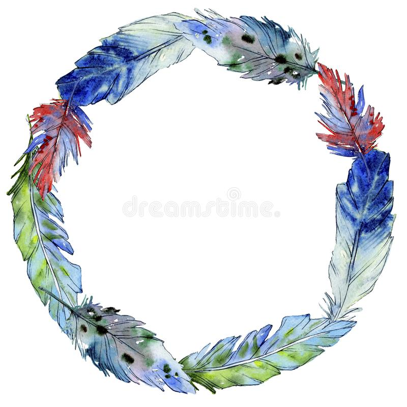 Akwareli ptasiego piórka wianek od skrzydła royalty ilustracja