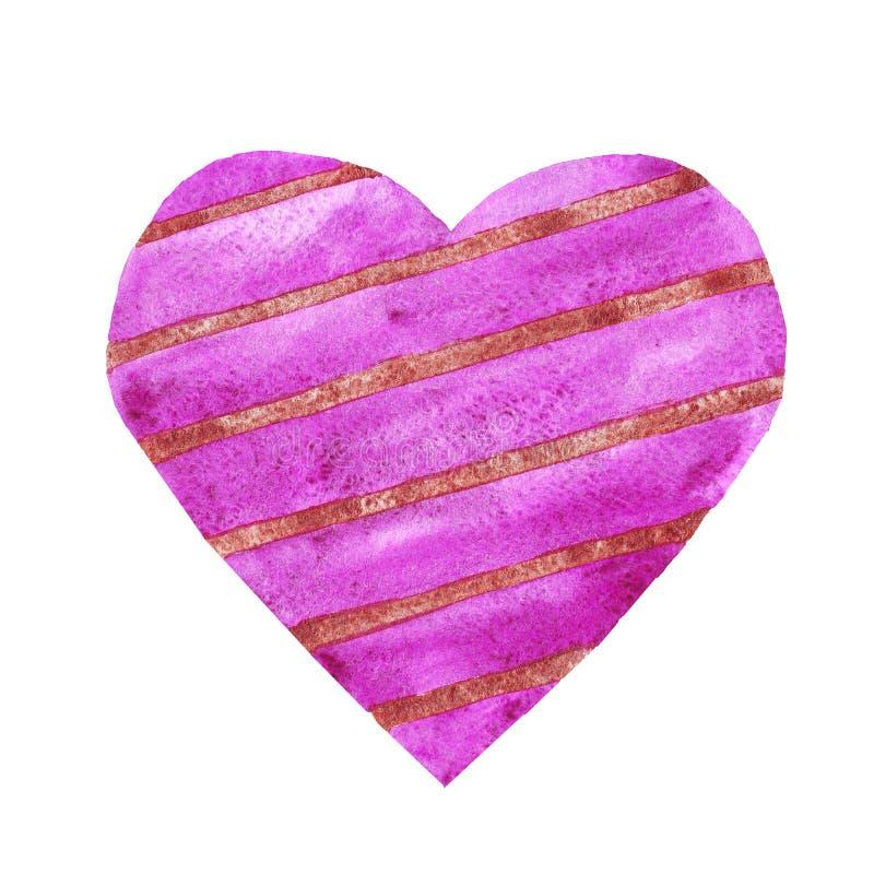 Akwareli purpurowe serce z bednarzów paskami kocha ślubną walentynki ilustracja wektor