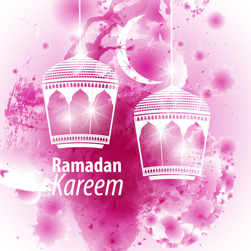 Akwareli purpurowej kropli Ramadan ilustracyjny kareem ilustracja wektor