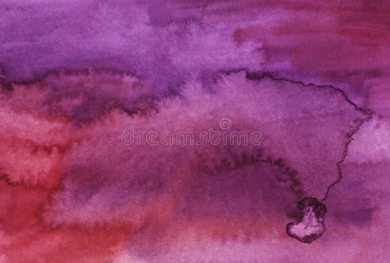 Akwareli purpurowy jaskrawy abstrakcjonistyczny tło royalty ilustracja