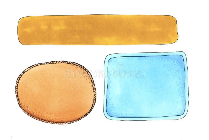 Akwareli pusta rama prosty koloru sztandar royalty ilustracja