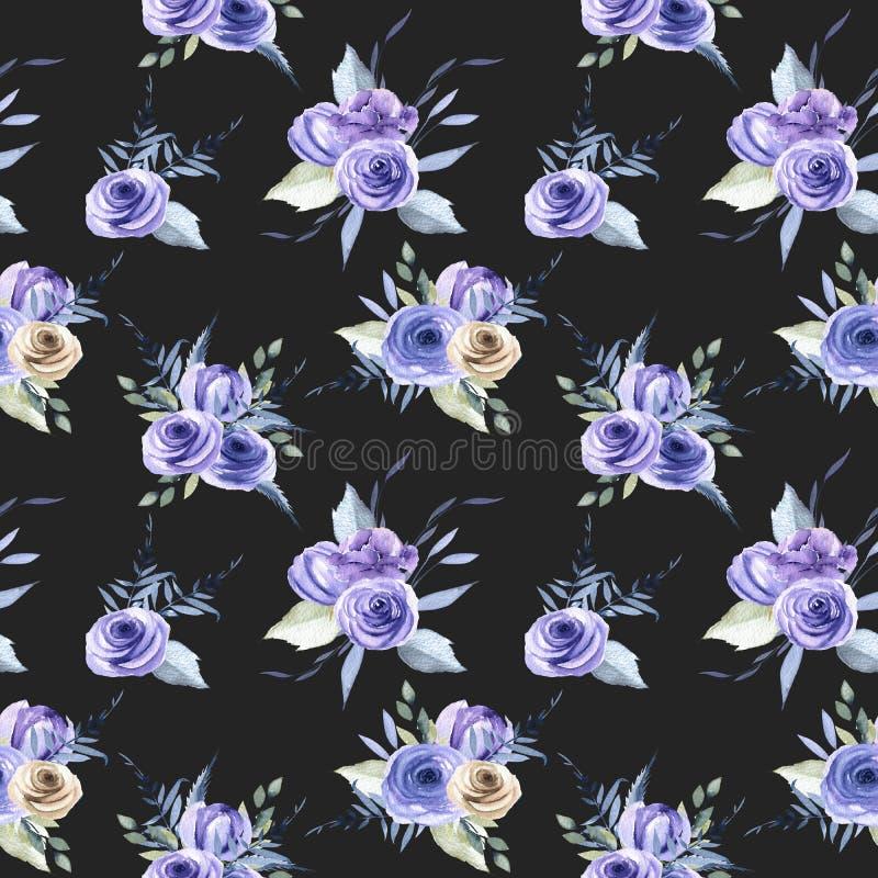Akwareli róż błękitnych bukietów bezszwowy wzór ilustracji