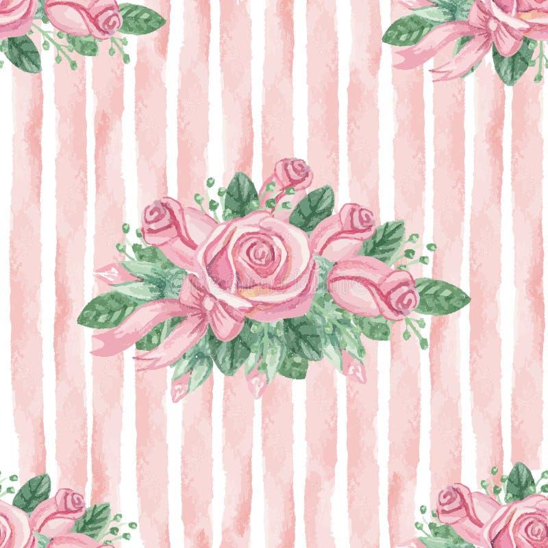 Akwareli róż różowej grupy bezszwowy wzór royalty ilustracja