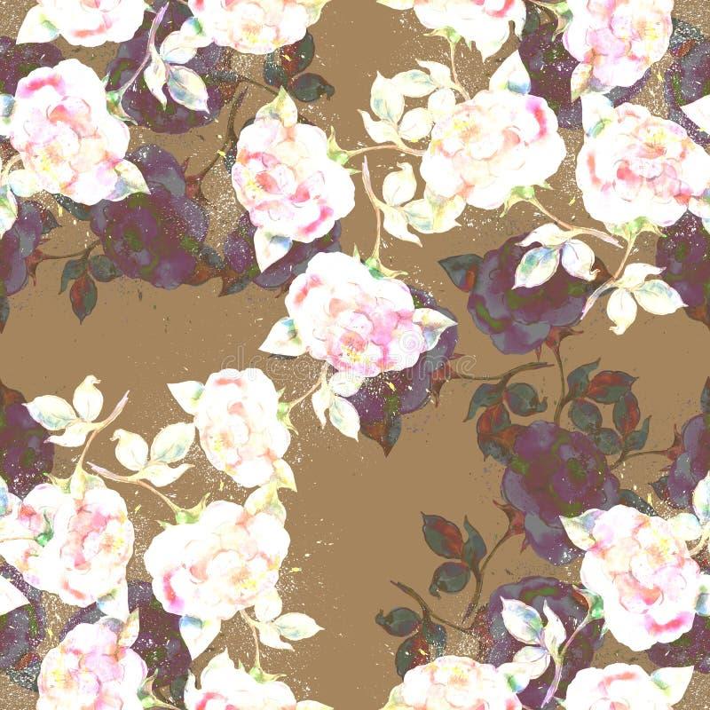 Akwareli róże na brown tle bezszwowy wzoru ilustracja wektor