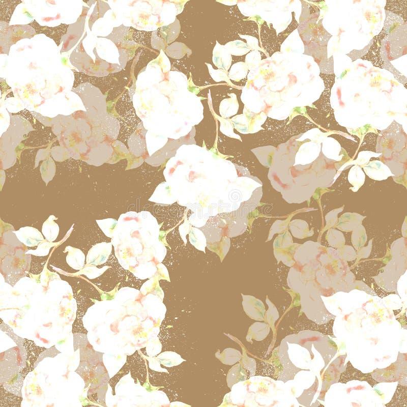 Akwareli róże na ocher tle bezszwowy wzoru ilustracja wektor
