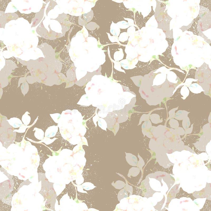 Akwareli róże na ocher tle bezszwowy wzoru ilustracji