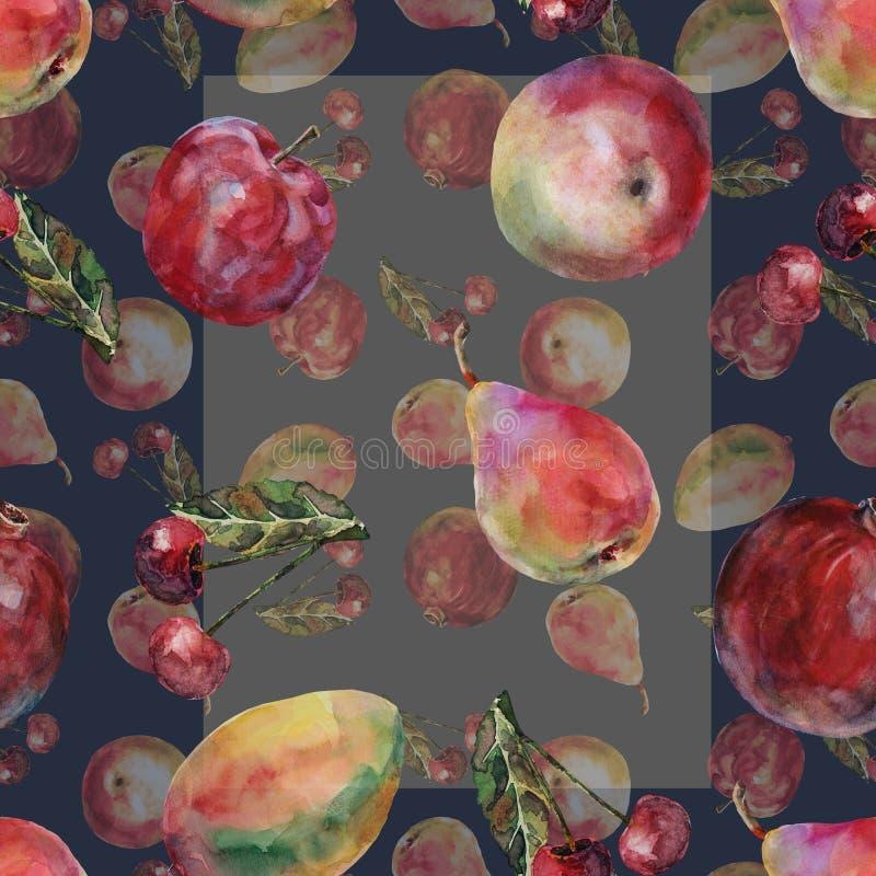 Akwareli różna owoc Bezszwowy wzór na zmroku - błękitny tło ilustracji