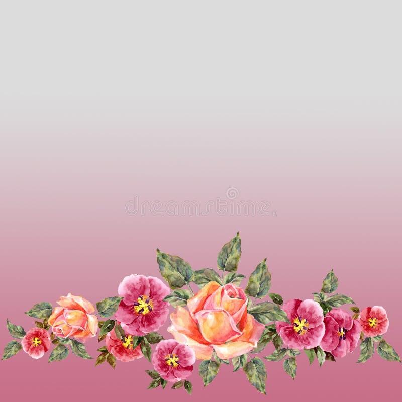 akwareli różowe róże Kwiecista granica na różowym tle ilustracji