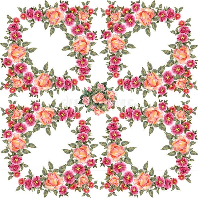 akwareli różowe róże Kwiecisty ilustracyjny skład royalty ilustracja