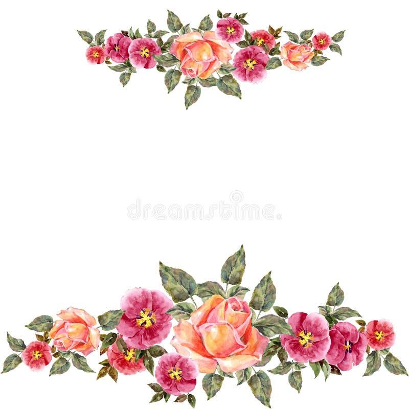 akwareli różowe róże Kwiecisty skład dla karty royalty ilustracja