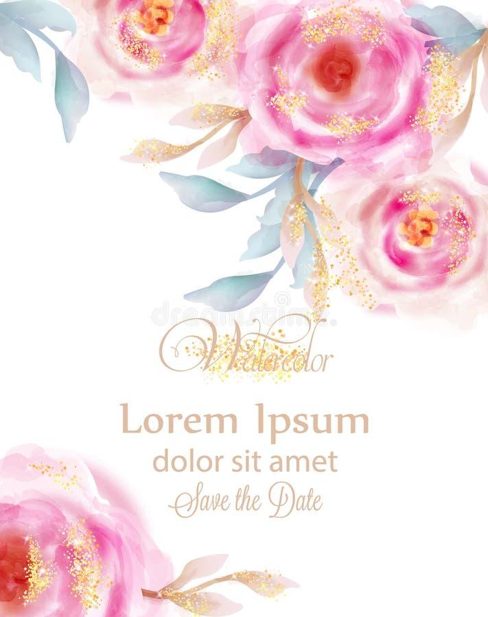 Akwareli różowe róże z złotym błyskotliwość wektorem Zaproszenie karta, ślubna ceremonia, delikatna pocztówka, kobieta dzień ilustracja wektor