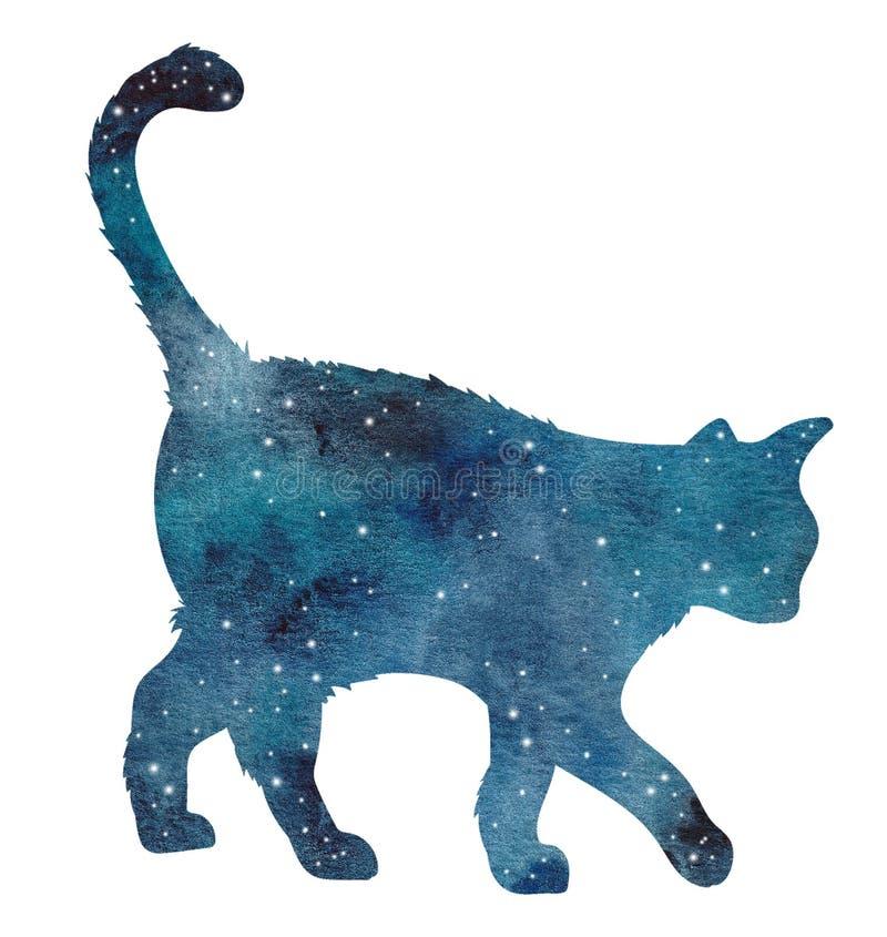 Akwareli ręka malował błękitnego kota sylwetkę z galaxy ilustracja wektor