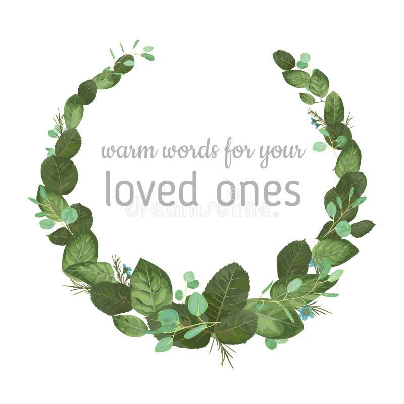Akwareli ręka malował wianek z zielonym eukaliptusem l i różami ilustracja wektor
