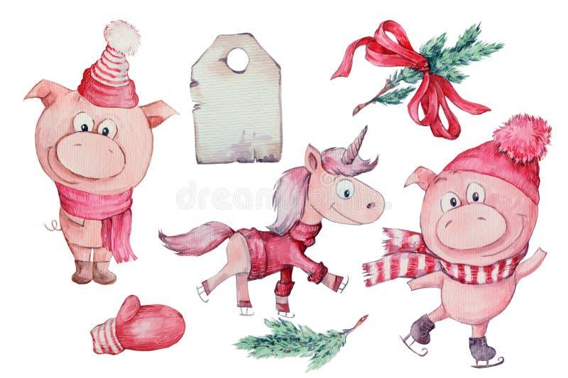 Akwareli ręka rysująca ilustracja śliczna trzy świni odizolowywającej na białym tle royalty ilustracja