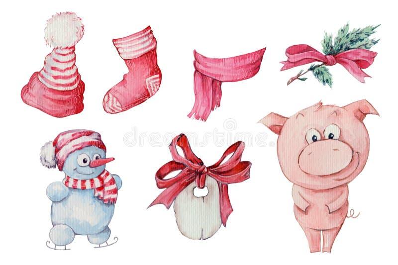 Akwareli ręka rysująca ilustracja śliczna trzy świni odizolowywającej na białym tle ilustracja wektor