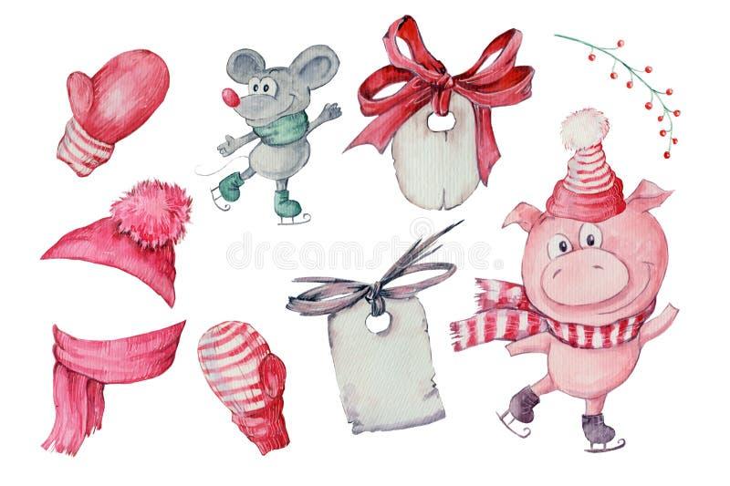 Akwareli ręka rysująca ilustracja śliczna trzy świni odizolowywającej na białym tle ilustracji