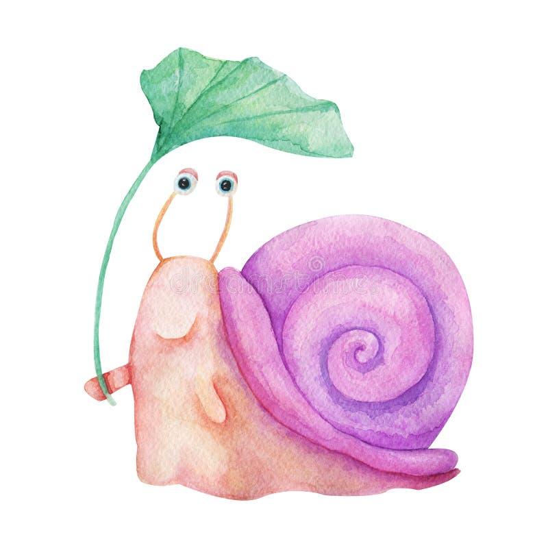 Akwareli ręka rysująca ilustracja Ślicznego charakteru uśmiechnięty kolorowy ślimaczek odizolowywał obraz na białym tle Dla dziec ilustracji
