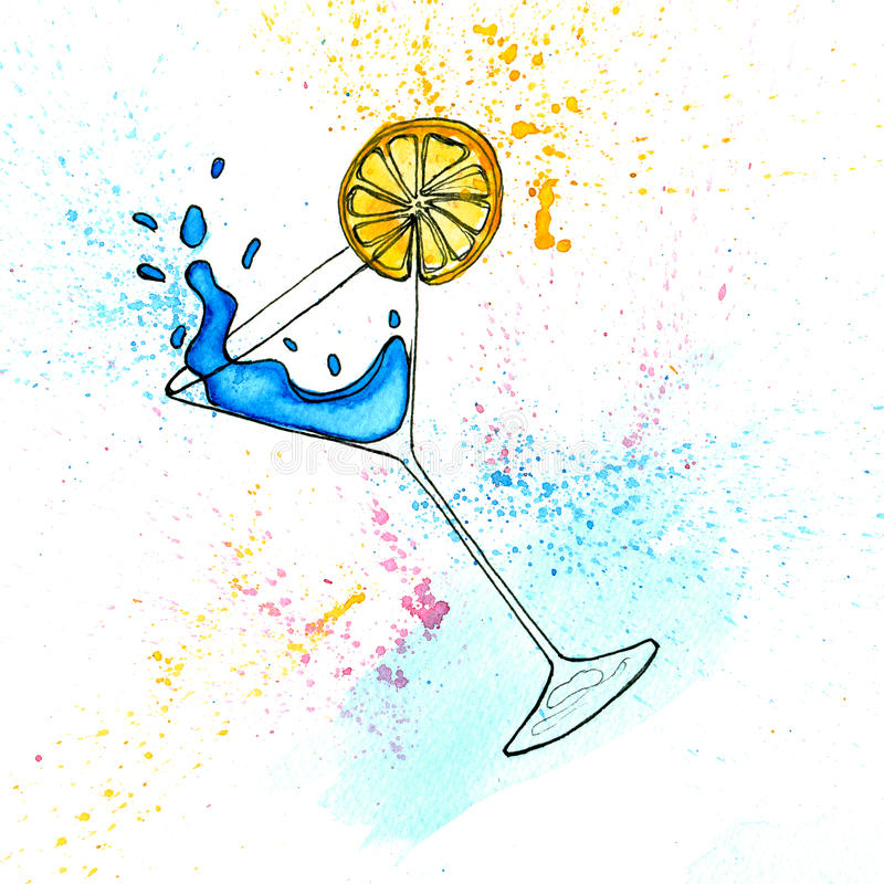 Akwareli ręka rysująca ilustracja błękitny koktajl w Martini szkle ilustracji