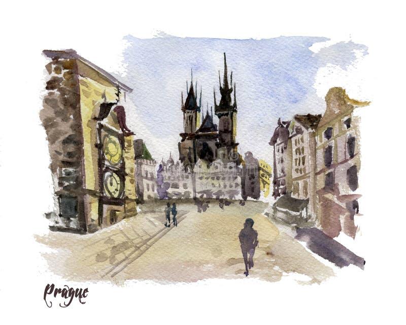Akwareli ręka rysująca kolorowa ilustracja Praga miasta widok ilustracji
