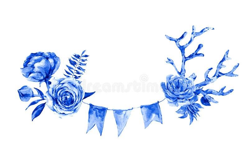 Akwareli ręki malować różowe róże, czerwony koral i partyjne girlandy odizolowywać na białym tle, royalty ilustracja