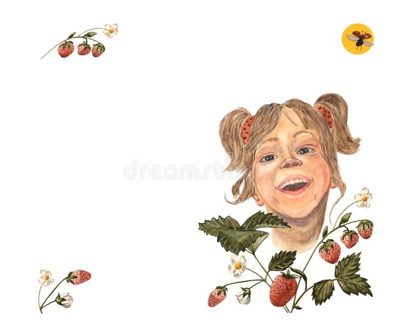 Akwareli ręki rysunek roześmiana mała dziewczynka z słońcem i latającą biedronką czerwonym strawberrry, pomarańczowym, royalty ilustracja