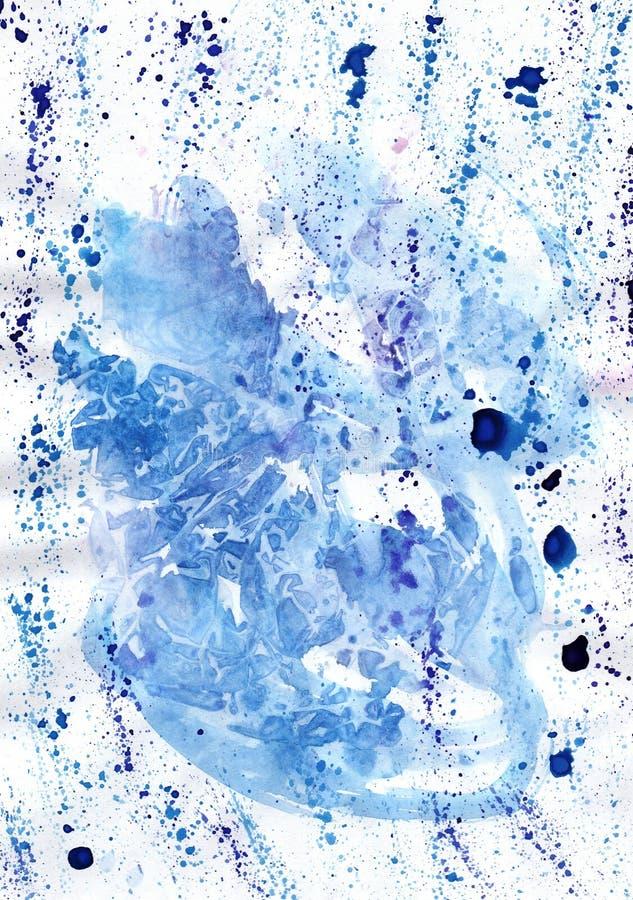 Akwareli rękodzieła obrazu marmurowy błękitny upaćkany wizerunek dla diffe ilustracja wektor