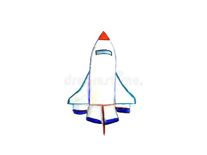 Akwareli rakiety ręka rysująca ilustracja wektor