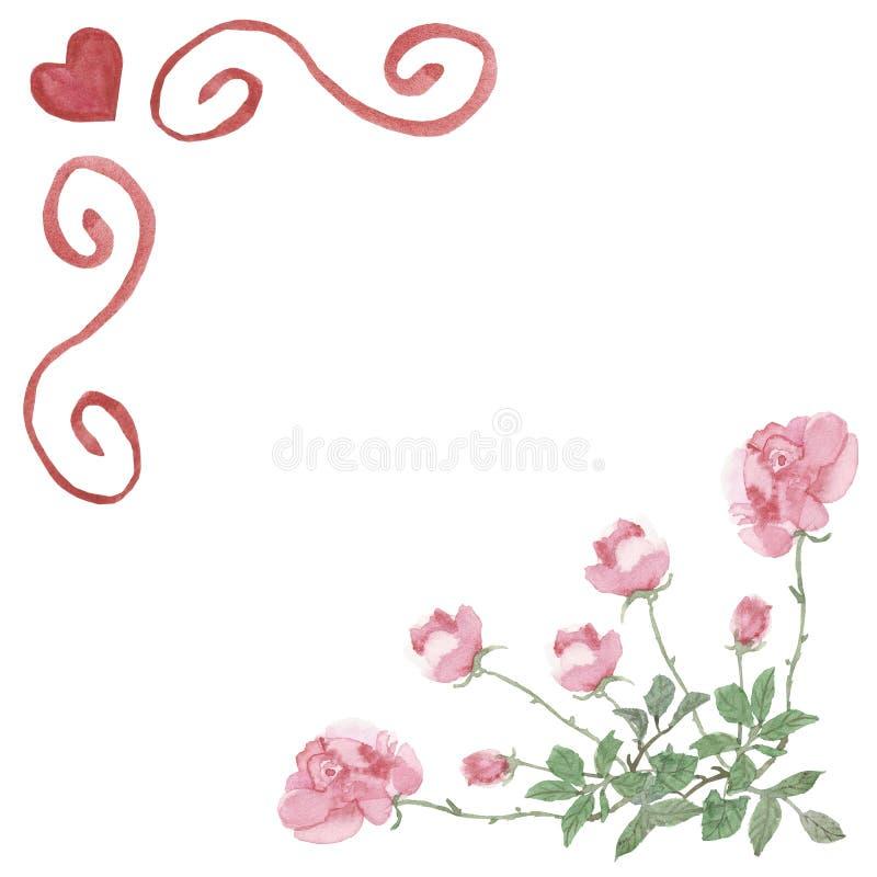 Akwareli rama dla walentynka dnia Czerwoni serca i pth heoses na białym tle, ręka malowali z bujny wzorem z przestrzenią dla royalty ilustracja