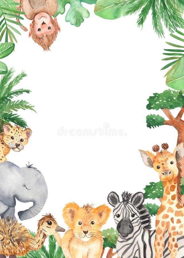 Akwareli rama z ślicznymi kreskówek zwierzętami Afryka ilustracji