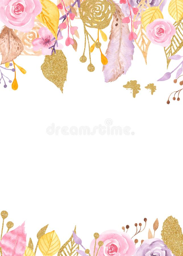 Akwareli rama z kwiatami, róże, liście, złote rośliny ilustracja wektor