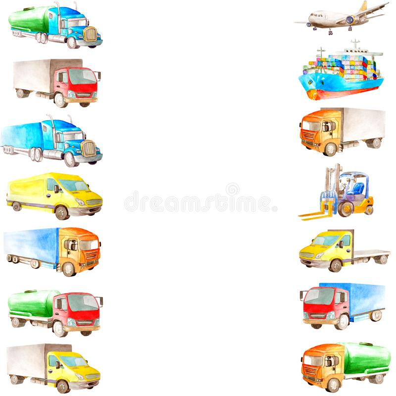 Akwareli ramy granica kreskówka ładunku pojazd, transport, ciężarówki, przewoźniki, statek i samolot z białą kopii przestrzenią, ilustracja wektor