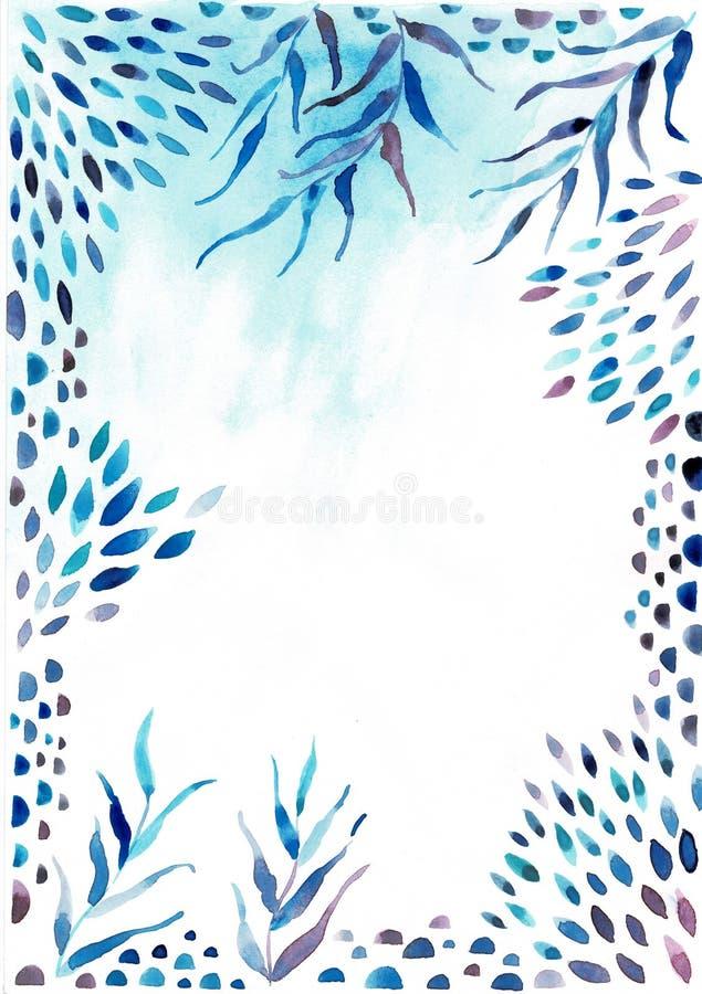 Akwareli ramy granica Tekstura z zieleniami, gałąź, liście, tropikalni liście, ulistnienie Doskonali? dla po?lubia?, zaproszenia ilustracji